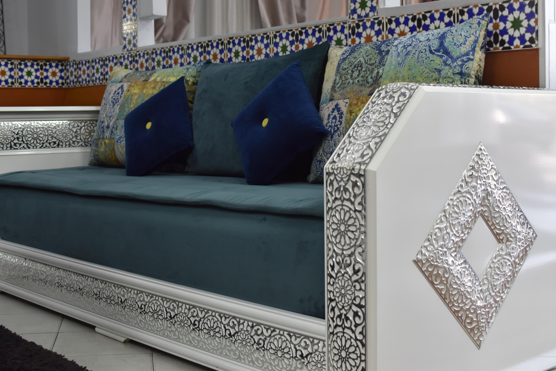 Salon Marocain Arabesque Blanc