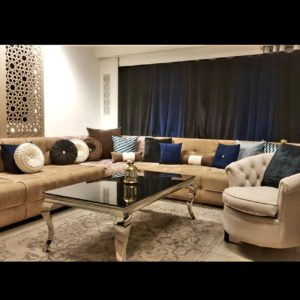 Salon marocain capitonné velours beige