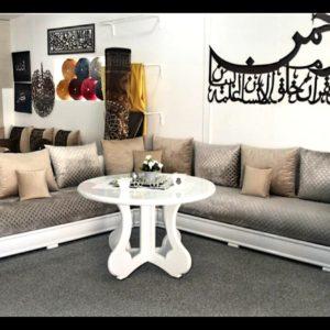 Salon marocain laqué blanc 2021