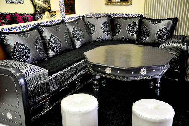 Salon Marocain Nejma Noir | salons marocains design pas cher
